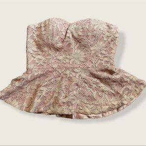 Forever 21 Lace Baby Pink Corset Peplum Top